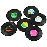 Vinyl Record Coaster Set - Pack of 6 Retro Novelty Drink Mats