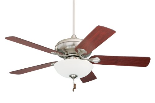 Emerson CF775BS Spanish Bay Indoor Ceiling Fan, 52-Inch Blade Span, Brushed Steel Finish, Mahogany Blades and Opal Matte Glass