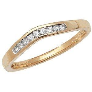 Unique Wishlist 9ct Yellow Gold 10pt Diamond Soft Wishbone Ring