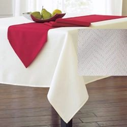 "Ralph Lauren White Basketweave Tablecloth Oblong 60"" x 84"""