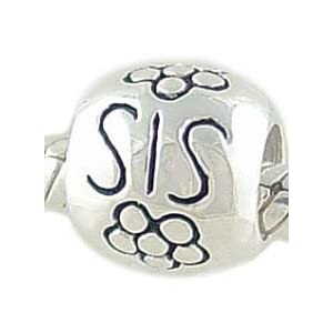 Sterling Silver SIS with Flowers Sister Bead for European Charm Bracelet