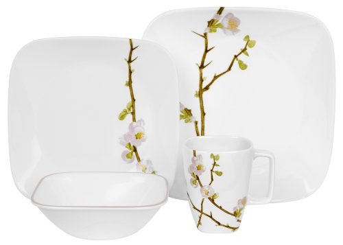 Corelle Cherry Blossom Square 16-Piece Dinnerware Set, Service for 4