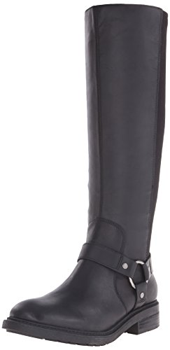 Nine West Women's Galician Leather Knee High Boot, Black/Black, 8 M US