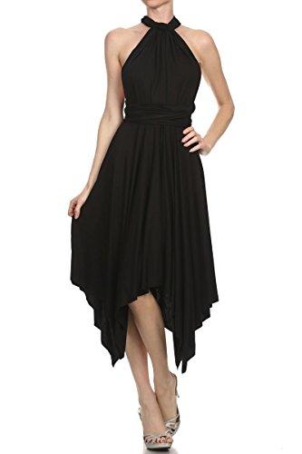 12 Ami Solid Convertible Multi Way High Low Short Dress Black Small