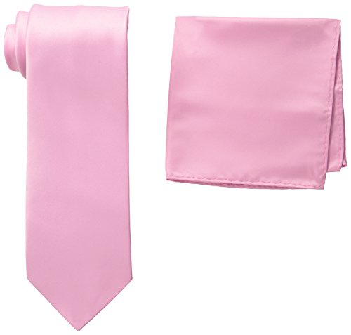 Stacy Adams Men's Tall-Plus-Size Satin Solid Tie Set Extra Long, Pink, One Size (Pink Extra Long Ties compare prices)