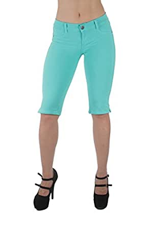 Basic Bermuda Shorts Premium Stretch French Terry Moleton With a gentle butt lifting stitching in Aqua Size XS