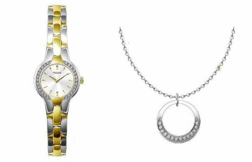 Pulsar Womens Box Set with Watch and Necklace (Swarovski Crystal)
