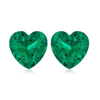 1.06-1.20 Cts of 6 mm AAA Heart Russian Lab Created Emerald Matching ( 2 pcs ) Loose Gemstones