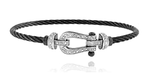 Black Rhodium over Sterling Silver 925 Two-tone Genuine Diamond 0.12cts (Colo...