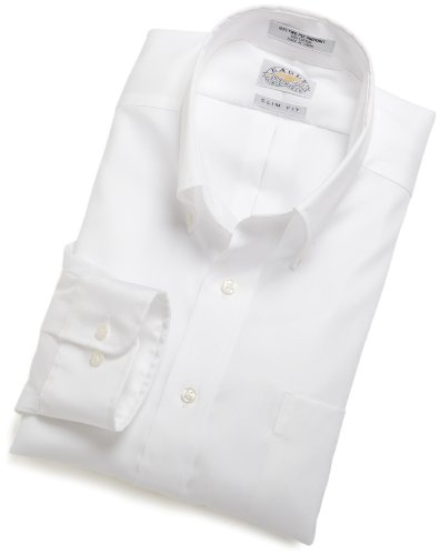 EAGLE Men's 100% Cotton Pinpoint Non Iron Slim Fit Long Sleeve Dress Shirt