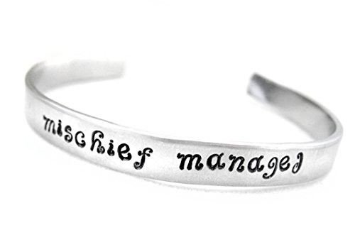 Mischief Managed Bracelet - Hand Stamped Aluminum Cuff, Harry Potter Inspired, By Juniper Road