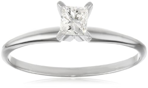 For sale 14k White Gold Princess-Cut Solitaire Engagement Ring (1/4 cttw, I-J Color, I1-I2 Clarity), Size 6