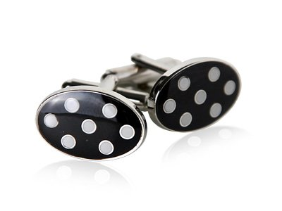Polka Dot Cufflinks in Black & White by Cuff-Daddy