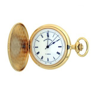 Mount Royal - Engine Turned Gold Plated Full Hunter Mechanical Pocket Watch - B10M - (WW1194) - 4.8cm diameter x 1cm depth