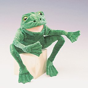 Folkmanis Puppets Long-Legged Frog Puppet Plush Toy