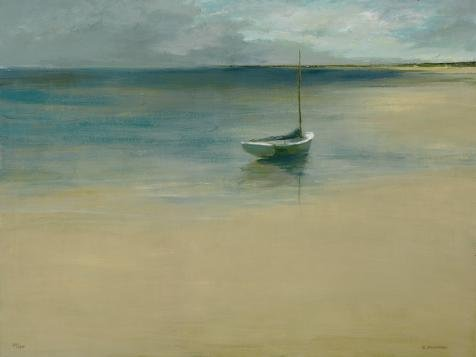 Oil Painting 'Decorative Landscape Painting Of A Boat On The Sea' Printing On Perfect Effect Canvas , 24x32 Inch / 61x81 Cm ,the Best Powder Room Artwork And Home Decoration And Gifts Is This High Definition Art Decorative Canvas Prints