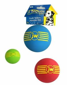 JW Pet Medium iSqueak Rubber Ball Dog Toy, Color:Assorted