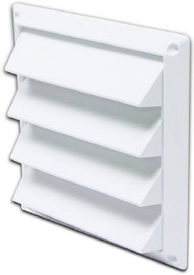 Lambro Industries 604W Dryer Air Intake Vent, Louvered, White Plastic, 4-In. - Quantity 8 front-463845