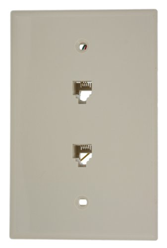 Leviton 40544-T Midsize Telephone Wall Jack, Light Almond