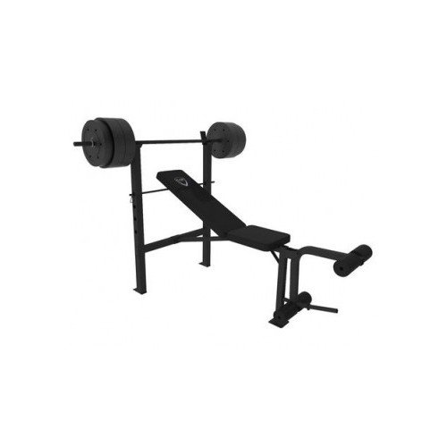 Deluxe Weight Bench Press Equipment Including a 100lbs Weight Set Bar Perfect for Home Gym Workouts Also Features Leg Preacher Curl Station and the Bench Is Adjustable for Incline Workouts and Regular Bench Press (Machine Bench Press compare prices)