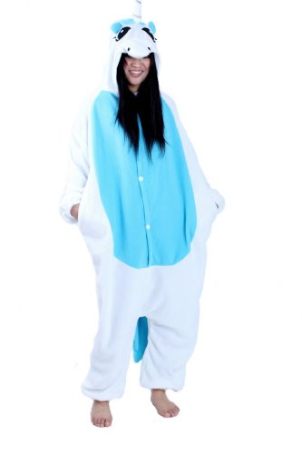 Rnmomo Unisex-Adult Kigurumi Unicorn Pajamas Medium Aqua front-1020416