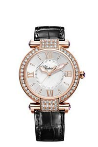 Chopard Women's Imperiale Silver Dial Black Strap Diamond Watch 384221-5002