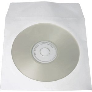 CD Technology 100-Pack White Paper Window Envelope Sleeves for CD Storage