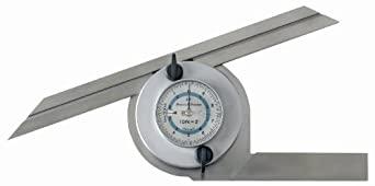 Brown & Sharpe TESA 00630002 Stainless Steel EAC Angle Protractor with Dial, 4 x 90 Degree Measuring Range, 300mm Scale