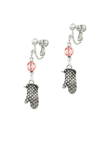 Oven Mitt Pink Czech Glass Bead Clip On Earrings (Glass Bead Oven compare prices)