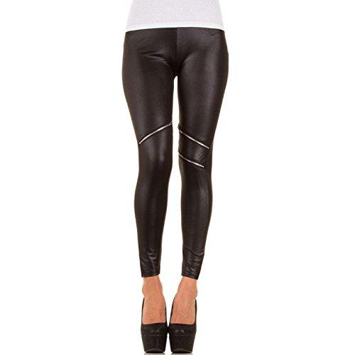 Glanzwelten GOGO Outfit Dancewear Clubwear Leggings Leder Look Outfit Gr. 36/38