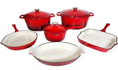 Le Chef 9-Piece Enamel Cast Iron Red Cookware Set. front-633157