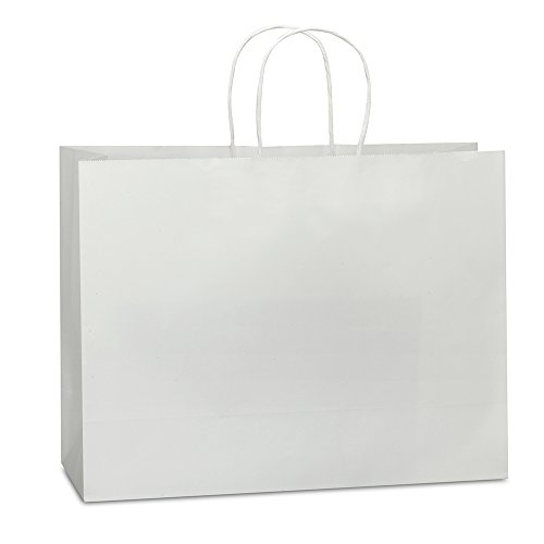 Halulu 100pcs 16x6x12 White Paper Retail Shopping Bags with Rope Handles (Extra Large Merchandise Bags compare prices)
