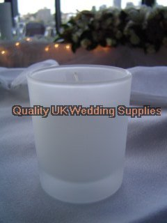72 x Frosted Glass Holder With 10+ Hour Candle