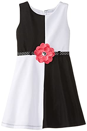 Youngland Little Girls' Colorblock Ponte Dress, Black/White, 6X