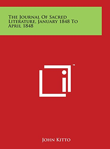 The Journal of Sacred Literature, January 1848 to April 1848