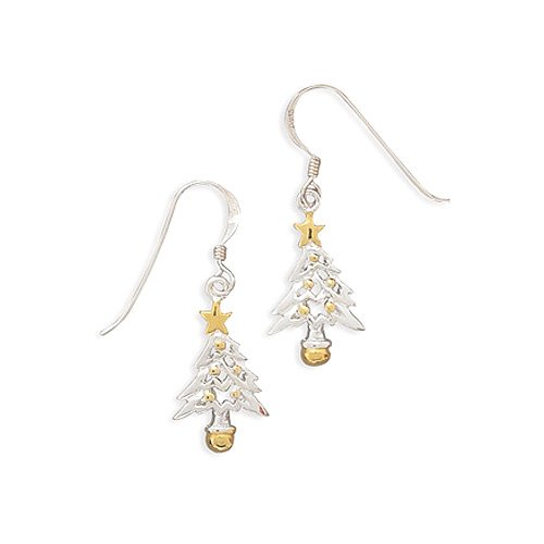 14 Karat Gold Plated Sterling Silver Tree Earrings on French Wire