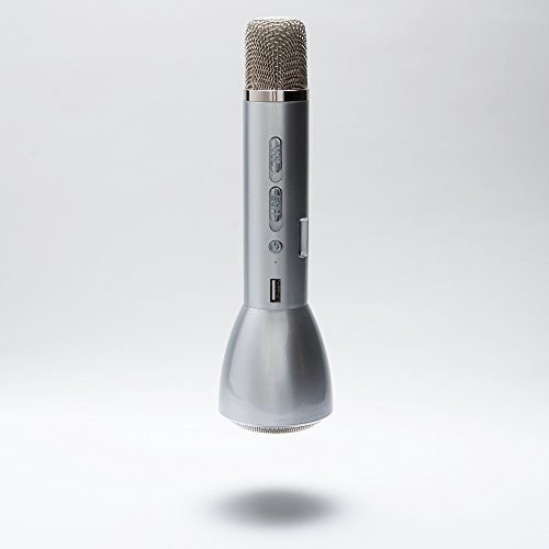 Magic Wireless Mic Portable Magic Karaoke Microphone Wireless Bluetooth Speaker Microphone Compatible with IPhone and Android Smartphones (Silver) (Hdmi Mic Mixer compare prices)