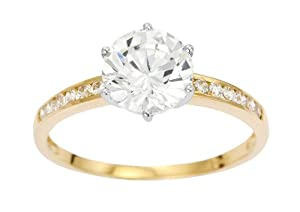 Ornami Glamour 9ct Yellow Gold Cubic Zirconia Solitaire Look Ring with Cubic Zirconia Shoulders