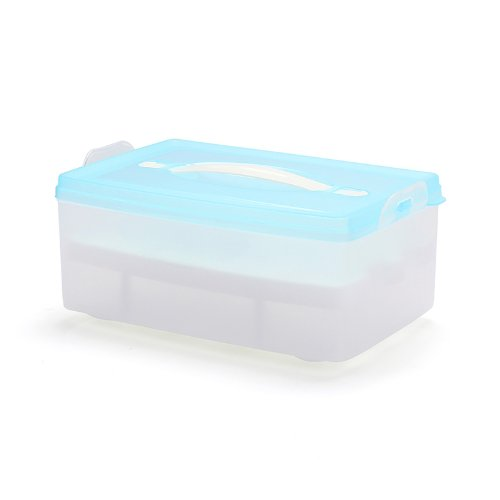Lagute Double-deck Plastic Egg Box Carrier Container Holder Storage Case, Each Holds 24 Eggs (Blue)