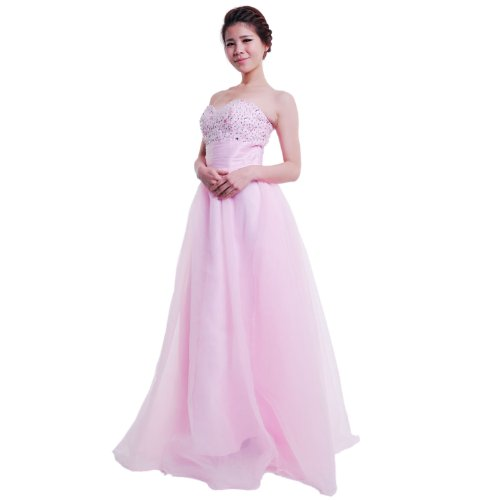Moonar Chiffon Strapless Sweetheart Paillette A Line Prom Formal Gown Party Bridesmaid Wedding Dress Pink Size 4