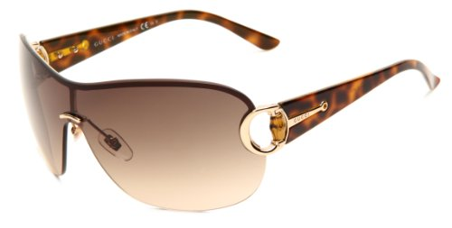 Gucci Women's 2875/S Shield Sunglasses,Gold & Havana Frame/Brown Gradient Lens,One Size