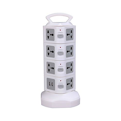 QOCOO 16 Outlet Smart Home Office Surge Protector Outlet Socket Power Strip With Retractable Cable US Plug 2 USB Outputs for iPhone Plus iPad Mini Samsung Galaxy and Phone Charging Station gray