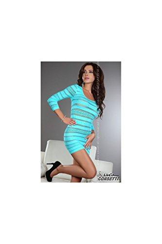 Livco-Ginette-Robe-turquoise-ajoure-LIVCO-CORSETTI
