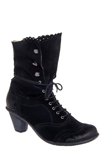 Dkode Vilma Low Heel Lace Up Vintage Bootie