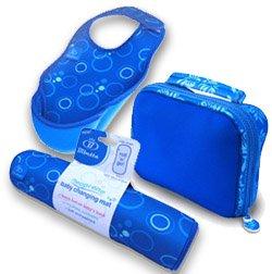 Bibetta Baby Bib Changing Mat Reversabag Gift Set BLUE BUBBLES