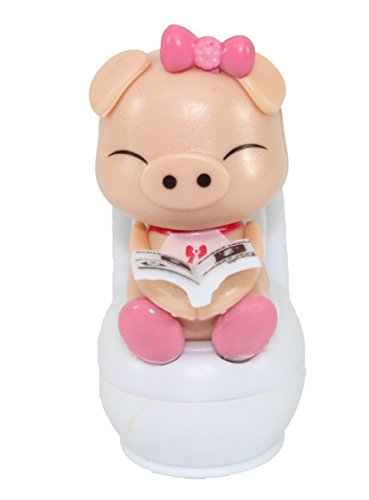 "A ""She"" Piglet Reading on Toilet Bowl Pig Solar Toy Car Dashboard Office Desk Display Home Decor Easter Gift US Seller - 1"