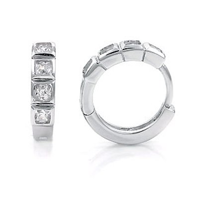 Sterling Silver Clip-On Huggie Earrings, Adorned with High-Grade Diamond-Colored Princess-Cut Cubic Zirconia, Top Quality Polish, Comes with a Free Special Gift Pouch, Special Discounted Price