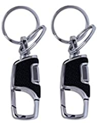 PARRK Double Ring Leather Non Locking Keychain Pack Of 2