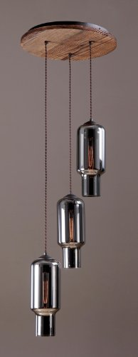 New Yorker Industrial Inspired, Triple Pendant Light (With Mirror Glass)