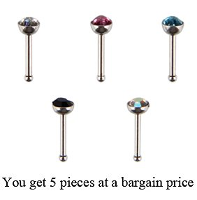 18g Surgical Steel 316l Nose Pins By Jewelz © - Swarovski Crystals - 1 Each Colour, Total 5 Pieces At a Bargain Price